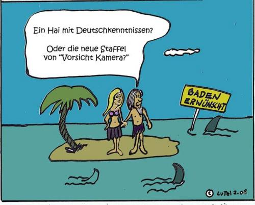 Cartoon: Baden macht fun! (medium) by Lutz-i tagged insel,baden,haie,