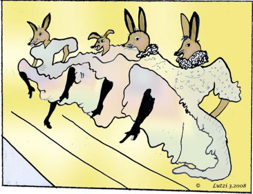 Cartoon: TANZENDE HASEN (medium) by Lutz-i tagged ostern,toulouse,lautrec,hasen,