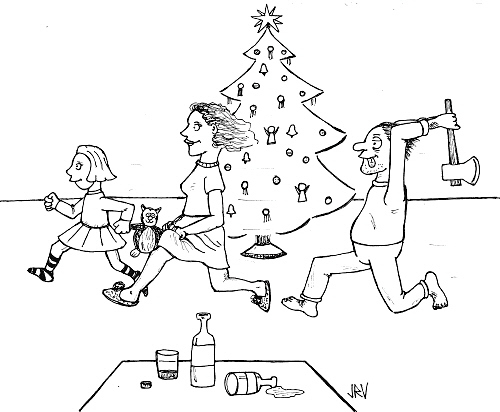 Cartoon: Christmas fun (medium) by Jani The Rock tagged christmas,finland,alcohol,family,axe,murder