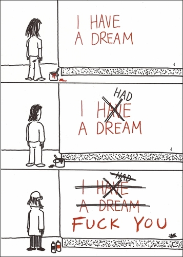 Cartoon: Evolution of a dream (medium) by Jani The Rock tagged dream,optimism,pessimism,aging,nihilism,time,fuckyou