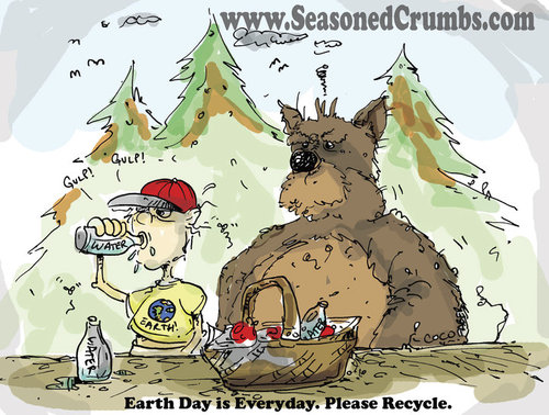 Cartoon: Earth Day (medium) by Seasoned Crumbs tagged earth,day,seasoned,crumbs,coco,faber,bear,cartoon,recycle,water,bottle,forest,woods,animal