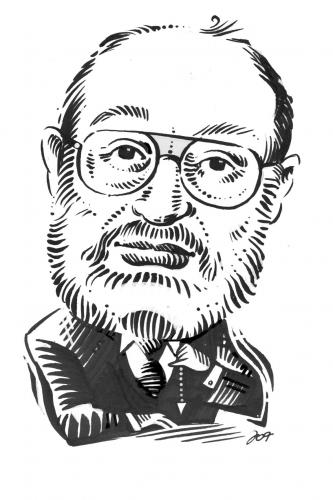 Cartoon: Umberto Eco (medium) by Jollustration tagged kolumne,italien,pendel,roman,autor,literatur