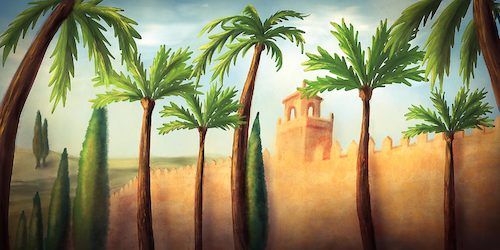Cartoon: Alcazar Cordoba (medium) by alesza tagged alcazar,cordoba,digital,painting,illustration,art,artwork,palace,palmtree,city,scenery,landscape