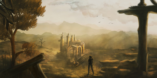Cartoon: Discovered (medium) by alesza tagged digital,painting,illustration,artwork,scenery,landscape,discovered,nature,autumn,fall,tree,ruin