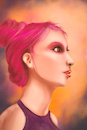 Cartoon: Pink (small) by alesza tagged girl,portrait,pink,hair,yound,people,digital,art,illustration,painting