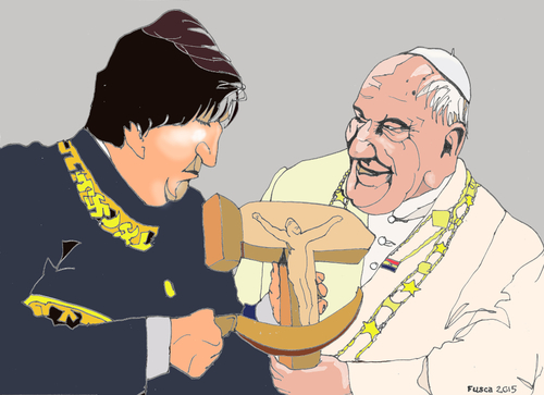 Cartoon: Bolivarian Pope (medium) by Fusca tagged pope,bolivarian,dictatorships,america,cuba,bolivia,argentina,brazil,venezuela