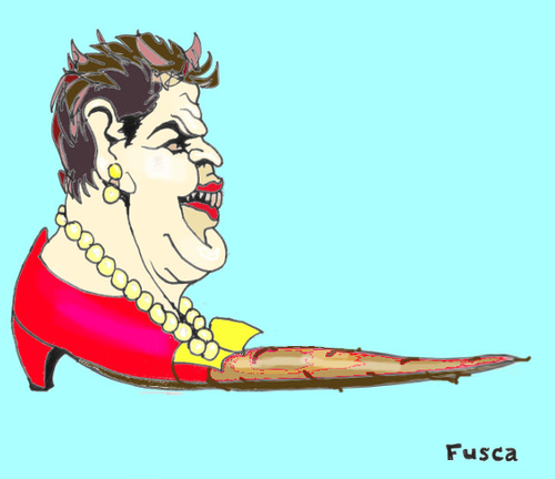 Cartoon: Brazilian dictator Lula s puppet (medium) by Fusca tagged brazil,dictatorship,rousseff,lula