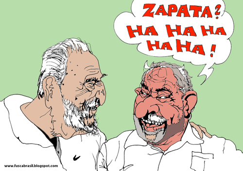 Cartoon: Castro Lula and murdered Zapata (medium) by Fusca tagged tyrants,latin,america,communist,dictatorship
