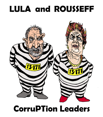Cartoon: Lula Rousseff corruPTion lords (medium) by Fusca tagged corruption,brazil,alleged,workers,party,criminal,castrocommunist,international,organization