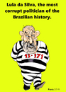 Cartoon: Lula da Silva in jail (small) by Fusca tagged lula,da,silva,jail,corruption,brazil,petrobras,imprisonment,corrupt,politician