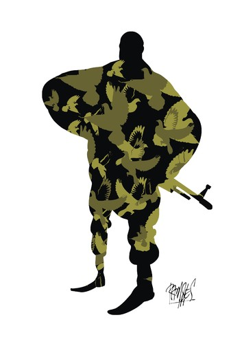 Cartoon: Camouflage (medium) by Ramses tagged war,dove,peace,guns