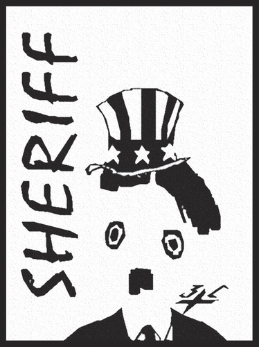 Cartoon: Sheriff (medium) by Zoran Spasojevic tagged serbia,sheriff,sam,uncle,kragujevac,paske,spasojevic,zoran,chaplin,dictator,great,usa,unclesam,emailart,graphics,digital