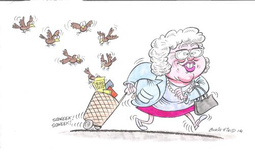 Cartoon: BIRDS! (medium) by fieldtoonz tagged old,lady,birds,trolley,seed