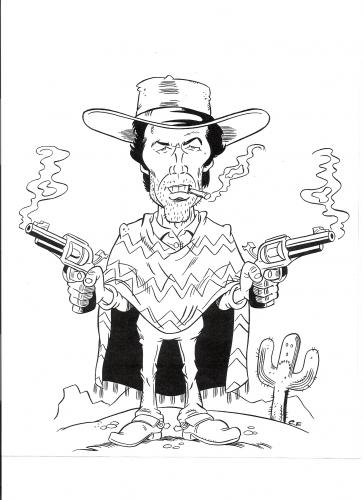 Cartoon clint eastwood caricature medium by fieldtoonz tagged clint