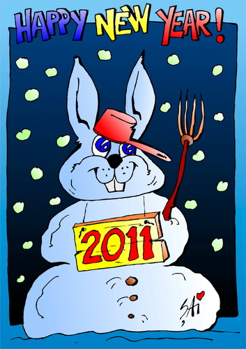 Cartoon: Happy New Year 2011! (medium) by SAI tagged ani,multi,la,caricaturasai,2011,year,new,happy,rabbit,snow
