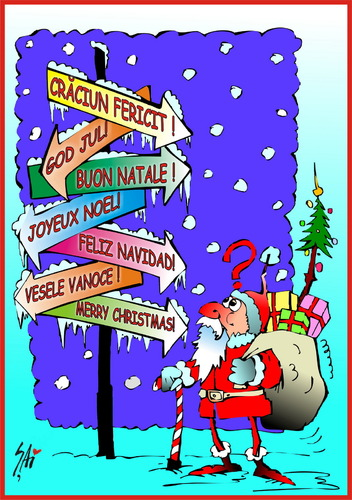 Cartoon: Merry Christmas (medium) by SAI tagged merry,christmas,feliz,navidad,buon,natale,craciun,fericit,joyeux,noel