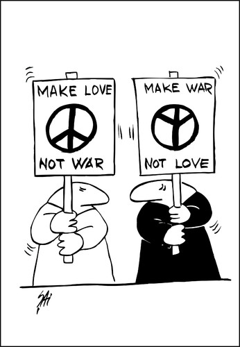 Cartoon: military (medium) by SAI tagged war,love,peace