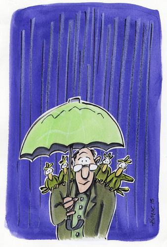 Cartoon: Rain BIrds (medium) by helmutk tagged nature