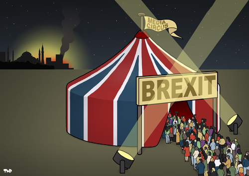Cartoon: Media Recap (medium) by Tjeerd Royaards tagged brexit,media,circus,istanbul,attention,journalism,brexit,media,circus,istanbul,attention,journalism