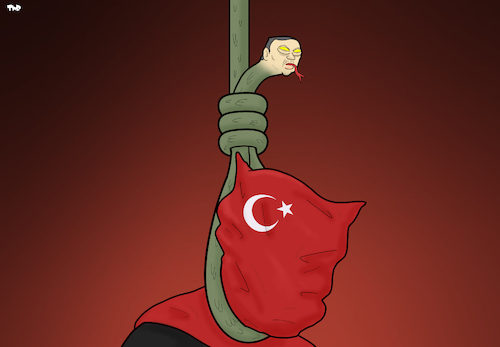 Cartoon: The Noose (medium) by Tjeerd Royaards tagged turkey,erdogan,death,penalty,capital,punishment,noose,snake,execution,turkey,erdogan,death,penalty,capital,punishment,noose,snake,execution