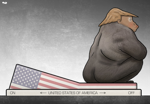 Cartoon: USA Shutdown (medium) by Tjeerd Royaards tagged trump,usa,switch,off,closed,america,gorilla,trump,usa,switch,off,closed,america,gorilla