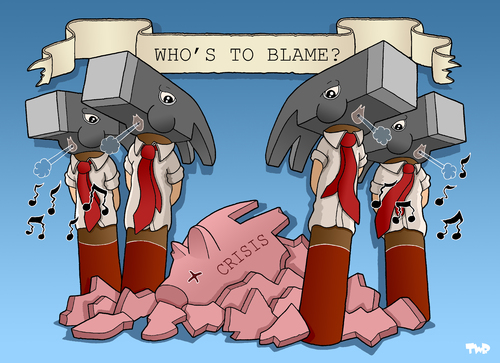 Cartoon: Who is to blame? (medium) by Tjeerd Royaards tagged financial,crisis,banks,bankers,economy,money,capitalism,finanzkrise,wirtschaftskrise,krise,geld,finanzen,kapitalismus