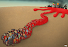 Cartoon: Blood spill (small) by Tjeerd Royaards tagged ethiopia,war,tigray,refugees,violence,blood,conflict