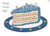 Cartoon: Europe Day (small) by Tjeerd Royaards tagged eu,day,brussels,refugees,cake,celebration