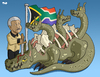 Cartoon: Nelson Mandela (small) by Tjeerd Royaards tagged mandela apartheid south africa corruption crime poverty slums