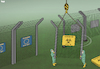 Cartoon: New European Border (small) by Tjeerd Royaards tagged eu,border,disease,quarantine,spread,infection,contagion