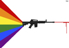 Cartoon: Orlando shooting (small) by Tjeerd Royaards tagged orlando,massacre,lgtb,club,shooting,gun,prism,rainbow