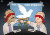 Cartoon: Pin the Pigeon (small) by Tjeerd Royaards tagged obama,putin,syria,peace,assad,letter,new,york,times,russia,usa,america,moscow,damascus,chemical,weapons,washington
