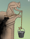 Cartoon: Reconstruction (small) by Tjeerd Royaards tagged notre,dame,church,france,paris,fire,blaze,gargoyle