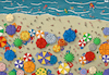 Cartoon: Summer Season (small) by Tjeerd Royaards tagged coronavirus,summer,holiday,vacation,risk,spread,beach,crowded