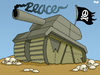 Cartoon: War and peace (small) by Tjeerd Royaards tagged war,peace,violence,conflict,military,humanity,tank,skulls,weapons