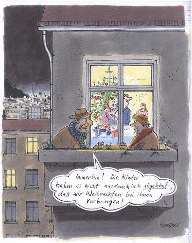 weihnachten auf dem balkon by woessner religion cartoon. Black Bedroom Furniture Sets. Home Design Ideas