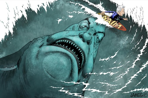 Cartoon: Megalodon (medium) by JAMEScartoons tagged slim,megadolon,amlo