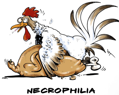 Cartoon: Necrophilia (medium) by JARO tagged necrophilia,chicken,animal,bird