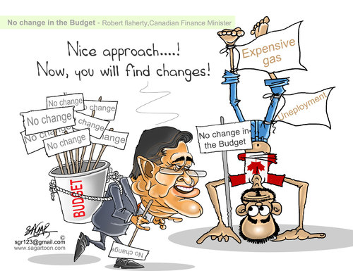 Cartoon: Canadian budget by flaherty (medium) by sagar kumar tagged flaherty,on,canadian,budget