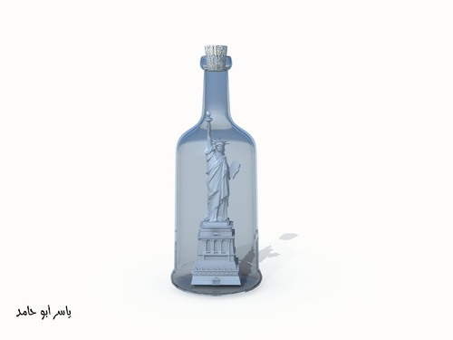 Cartoon: a lie (medium) by yaserabohamed tagged liberty,statue