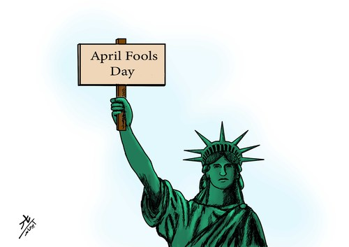 Cartoon: April Fools Day (medium) by yaserabohamed tagged april,fools,day,statue,of,liberty