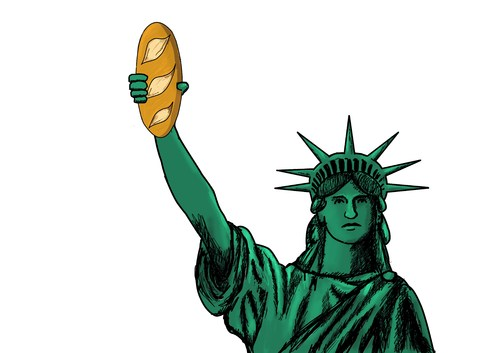 Cartoon: freedom (medium) by yaserabohamed tagged bread,statue,of,liberty,freedom