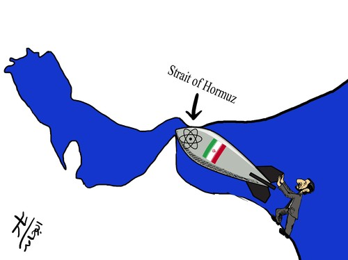 Cartoon: Strait of Hormuz (medium) by yaserabohamed tagged of,strait,hormuz
