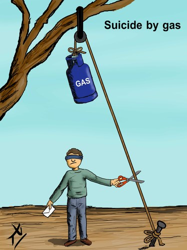 Cartoon: Suicide by gas (medium) by yaserabohamed tagged suicide