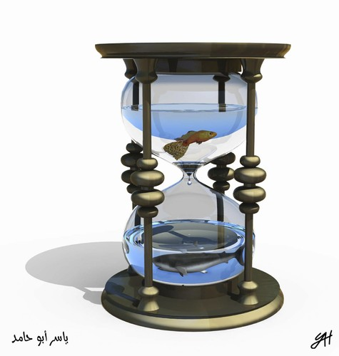 water clock By yaserabohamed | Philosophy Cartoon