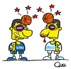 Cartoon: FIGHT GREECE VS SERBIA BASQUET (small) by QUEL tagged fight,greece,vs,serbia,basquet,friendly,game