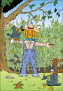 Cartoon: Scarecrow (small) by VoBo tagged scare crow farm farmer farming agricultur birds field corn vogel vogelscheuche bauer mais krähe pumpkin kürbis