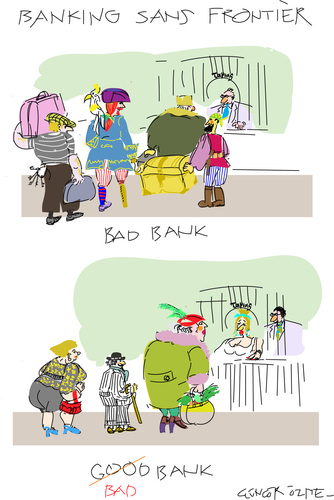 Cartoon: Bad Bank (medium) by gungor tagged money