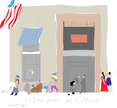 Cartoon: Breakfast at Tiffany (medium) by gungor tagged holliwood,holliwood