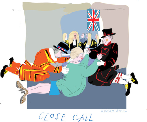 Cartoon: Close call (medium) by gungor tagged uk,uk,brexit,beefeater,lord,union,jack,parliament,may,theresa,deal,prime,minister theresa,defeat,british,parliement,tories,labour,lords,minister